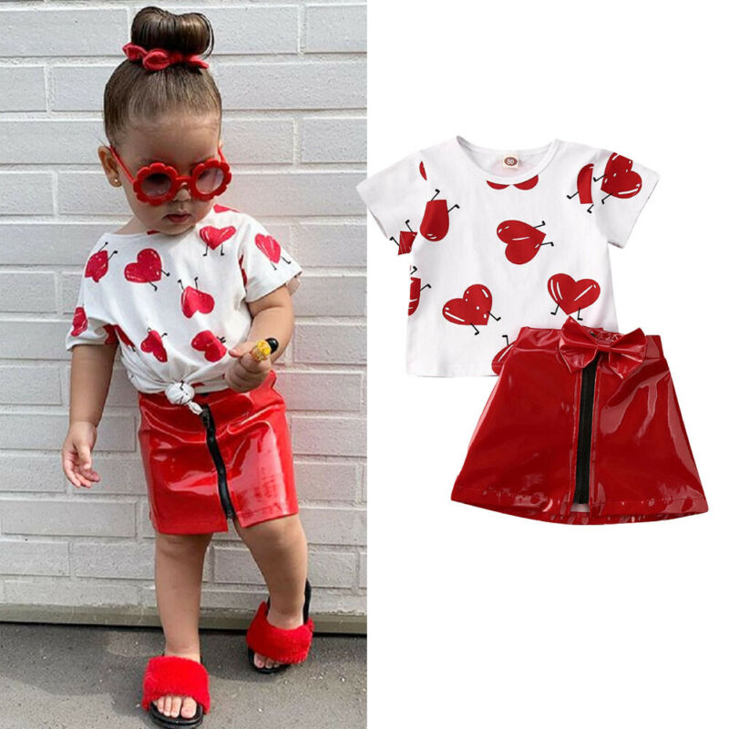 2Pcs Fashion Summer Kids Girls Clothes Sets Valentine's Days Cute Kids Love Print Top T-Shirts+Leather Zip Skirts Baby Outfit