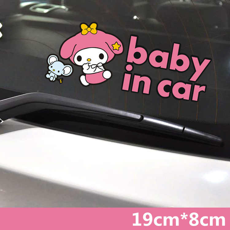 19CM * 8CM My Melody Baby In Auto An Bord Cartoon Reizende Nette Rosa Auto Aufkleber Kreative Aufkleber auto Tuning Styling D15