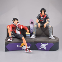 17.5cm 23.5cm Japanese anime figure PVC action figure one piece luffy Portgas D Ace sofa ver collection toys for boys
