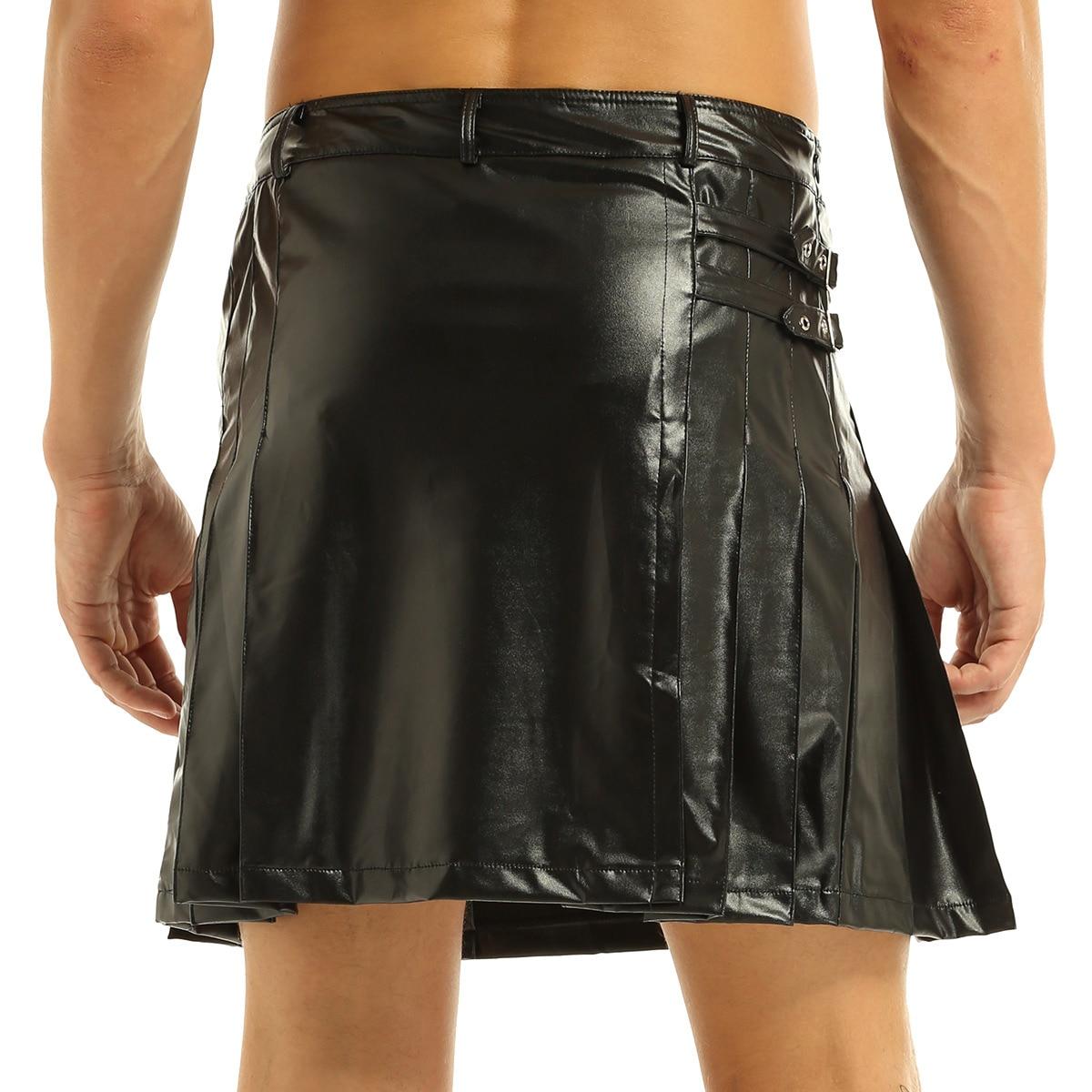 Mens Black Fashion Leather Gladiator Pleated Utility Kilt Split Wrap strap Kilt