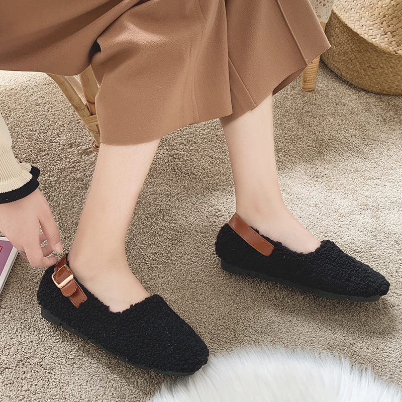 SLHJC Round Toe Loafers Flat Heel Slip On Women Autumn Flats Shoes Curly Fur Warm Female Drive Shoes 23