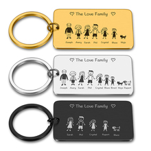 Personalized Family Keychain Engraved Gifts for Parents Children Present Keyring Bag Charm Family Member Gift Original Key Chain