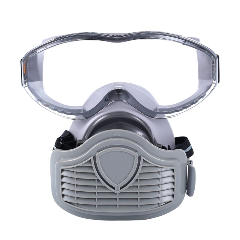 1Set Dustproof Respirator Filter Half Face Mask Protective Facepiece with Safety Glasses for Carpenter Builder Polishing Accesso|Masks| |  - title=