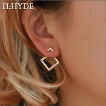 H:HYDE Cute Stud Earrings Square Unique Design Small Geometric  Fashion Jewelry Gift Valentines Day