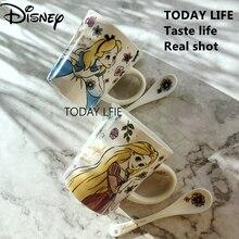 Disney Cartoon Alice Rapunzel Porcelain Mug Simple Large Capacity Mug Coffee Cup Breakfast Mug with Spoon