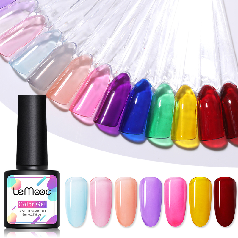 Lemooc Rainbow Jelly Gel 14 Colors Glass Opal Glass Candy Translucent Gel Polish Amber Glaze Nail Gel Nail Art Vanish Lacquer Nail Gel    - AliExpress