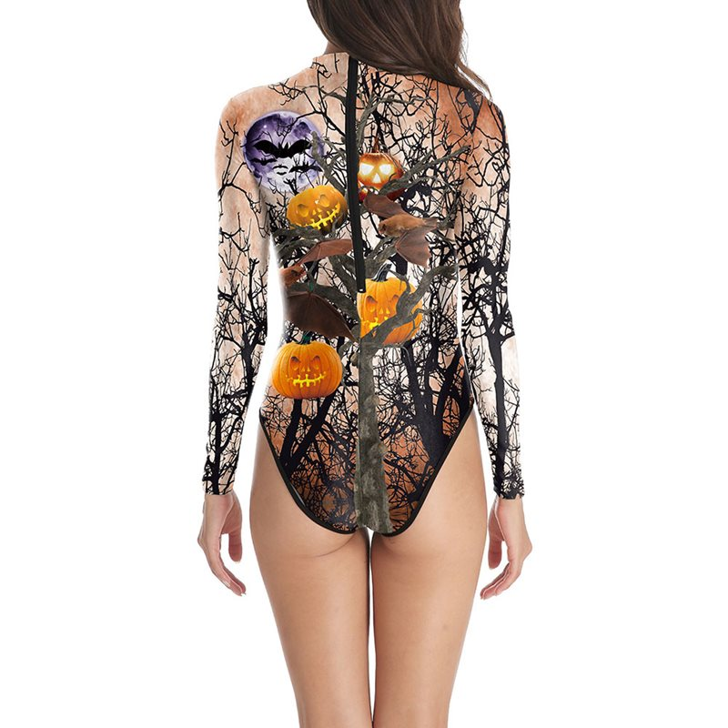 Halloween Costume Jumpsuits Cartoon Pumpkin Printed Party Long Sleeve Slim Stretchy Shorts Stage Performance Costume Swimwear in Bodysuits from Women 39 s Clothing