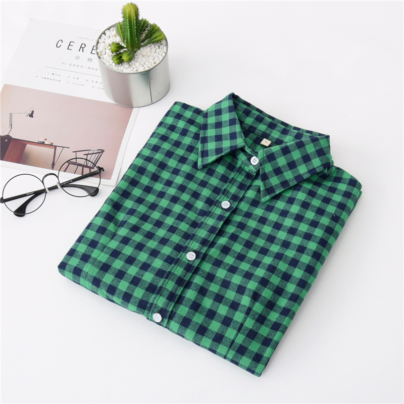 2020 New Women Blouses Brand New Excellent Quality Cotton 32style Plaid Shirt Women Casual Long Sleeve Shirt Tops Lady Clothes 18
