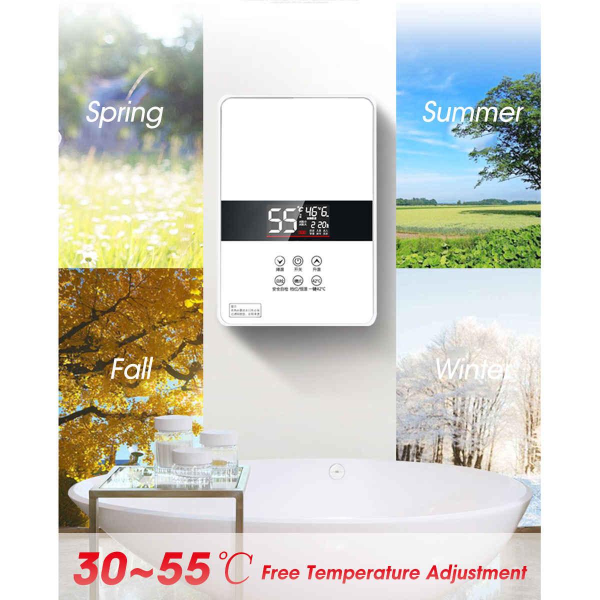 220V 6000W anında sıcak SU ISITICI dijital ekran banyo mutfak elektrikli su kazanı termostat duş musluk + duş başlığı