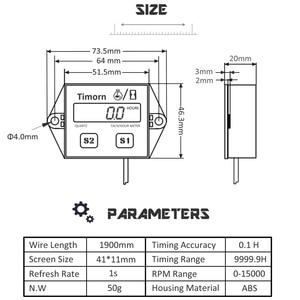 Image 5 - Digital del motor tacómetro medidor de horas tacómetro medidor para 2 o 4 tiempos motor de Gas inductivo de motores de la motocicleta barco