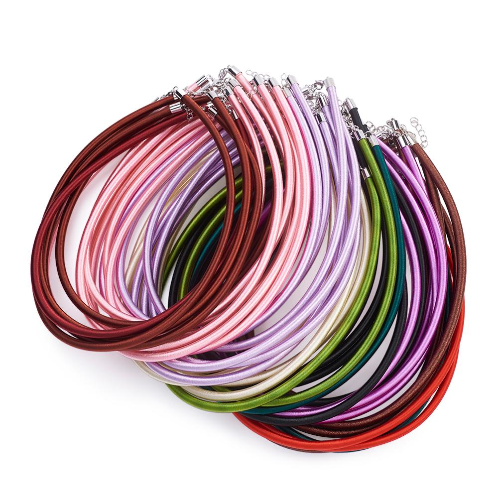 50pcs Mixed Color Silk Cord Necklace Making With Brass Clasps For DIY Necklace Bracelet Jewelry Making Findings 17~18