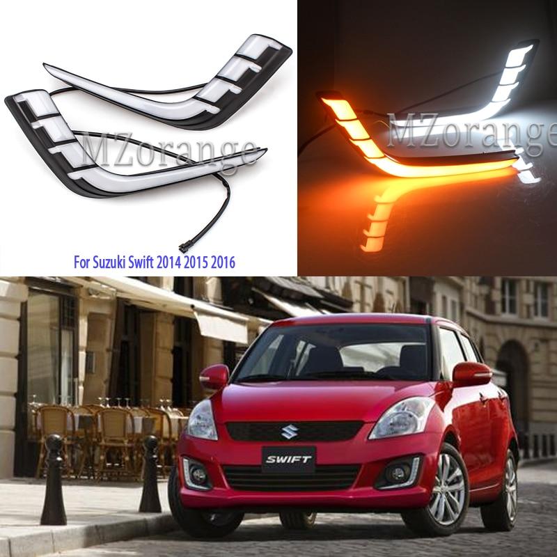 For Suzuki Swift 2014 2015 2016 LED DRL Headlight Daytime Running Lights Fog Lights Cover Headlight Fog Lamps Day Light Daylight