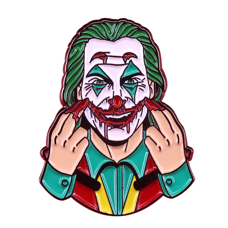 Coloque um rosto feliz-joker inspirado interativo duro esmalte pino joaquin phoenix fãs presente