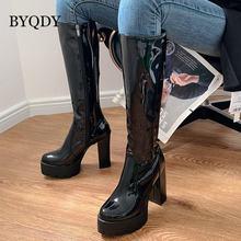 Женские сапоги до колена на высоком каблуке byqdy зимняя обувь