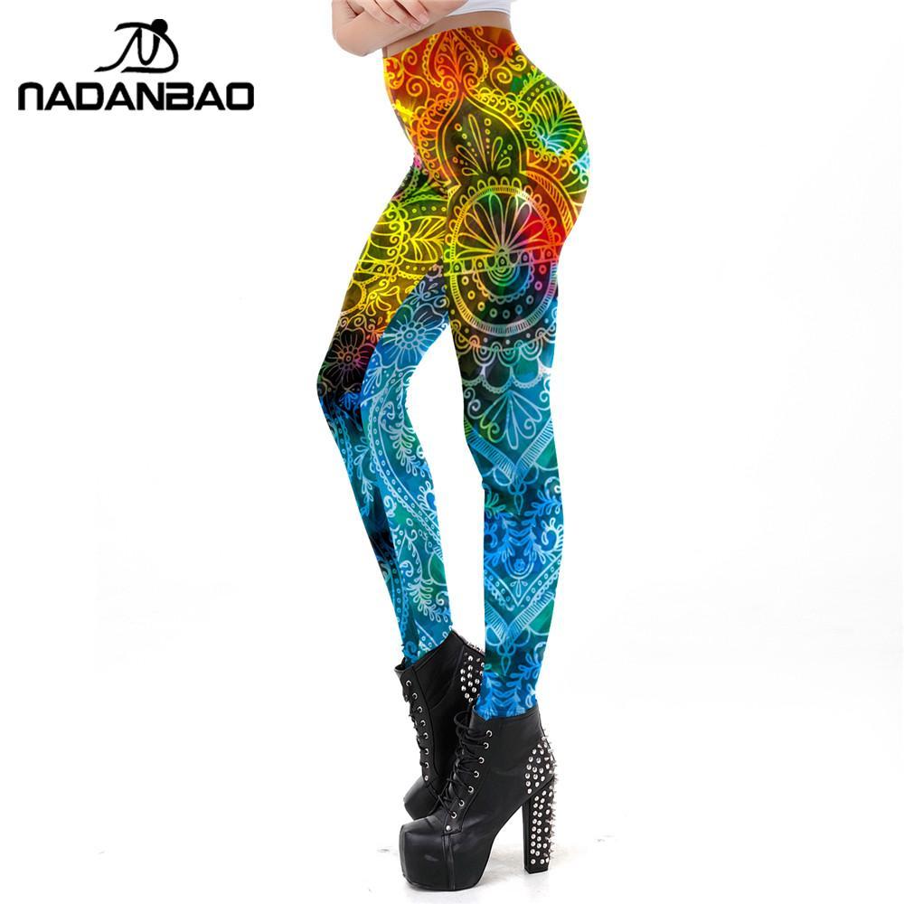 NADANBAO 2019 New Women Leggings Elastic Workout Leggins Gothic Fitness Leggings Mandala Printing Gradient Outdoor Legins XLSize