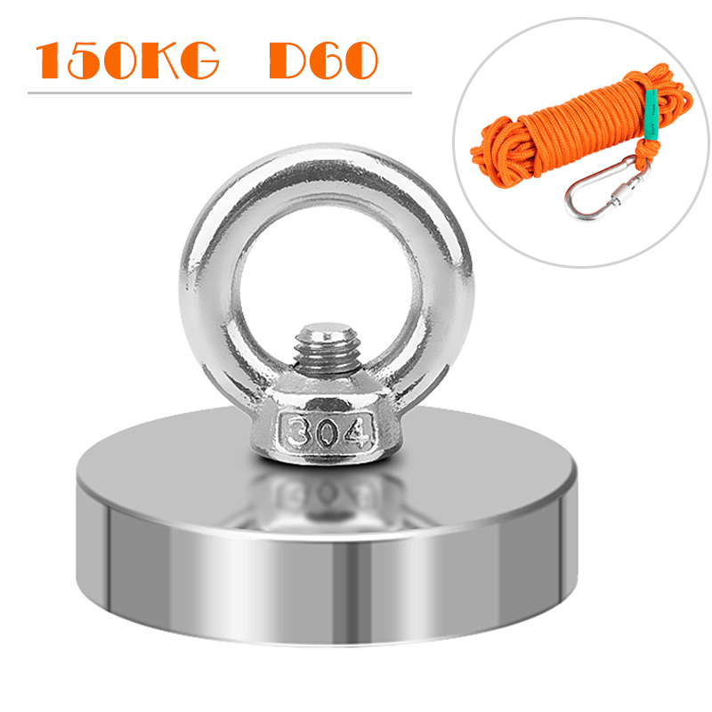 150Kg Dia 60mm Strong Search Magnet Fishing Hook Salvage Magnet Sea Fishing Holder Pulling Mounting Pot Magneet With 10m Rope