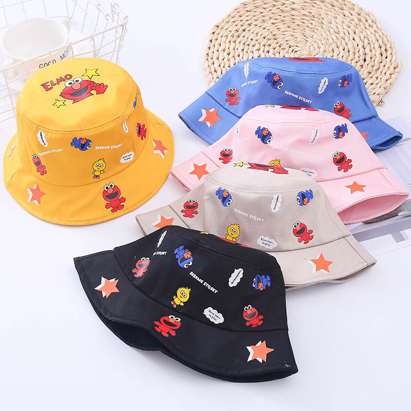 Baigu Sesame Street CHILDREN'S Bucket Hat Cartoon Printed Baby Hip Hop Hat Street Trend Flat Roof Hat