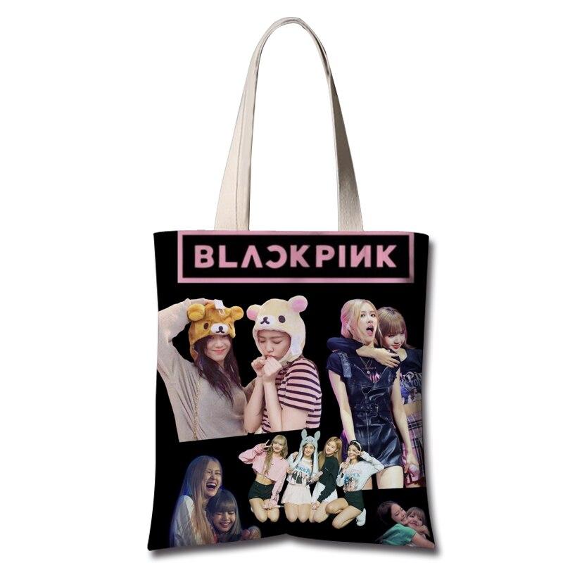 Kpop Blackpink Same 2019 Korean Canvas Shoulder Bags Women Summer Streetwear Kawaii Bag Fashion Fans Shoulder Bag High Quality