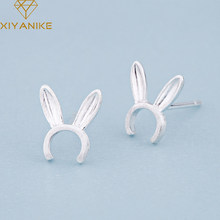 XIYANIKE 925 Sterling Silver Korean Style Cute Bunny Ears Creative Jewelry For Woman Small Stud Earrings Prevent Allergy(China)