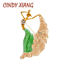 CINDY XIANG 5 Colors Choose Enamel Dancing Girl Brooch Slim Lady Pin New Design Autum Fashion Jewelry Brooches For Women Gift cindy xiang new arrival cute summer skating girl brooches for women 2 colors choose wearing dress dancing lady brooch pin enamel