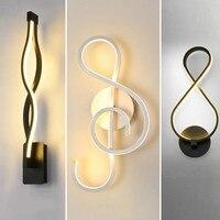 Linha de arte led europeu lâmpada parede cabeceira quarto criativo curva luz fundo moderno decorativo arte luminárias luzes parede