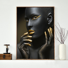 African Black Women Canvas Art Painting Golden Color Wall Prints For Living Room Posters and Modern Decoration