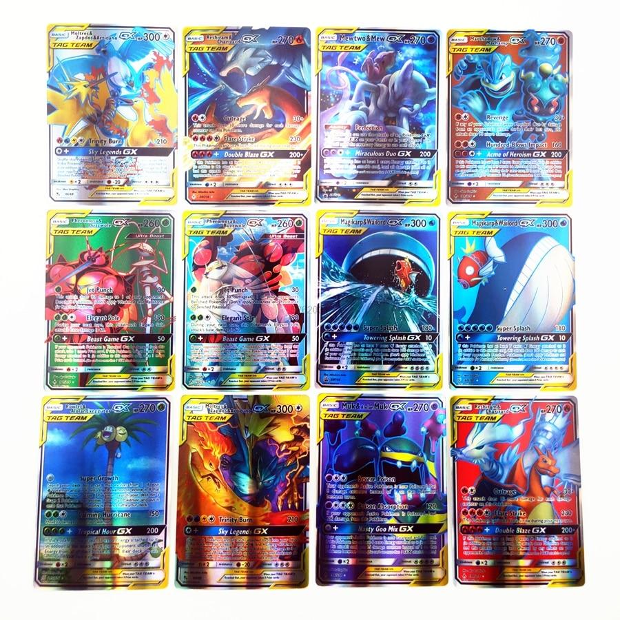 TOMY 120 шт. карты покемона с 80tag team 20mega 20 ultra beast Gx