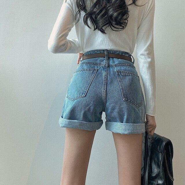 FINEWORDS Classic Washed Blue High Waist Shorts Jeans Women 2021 Summer Beach Denim Shorts Korean Casual Wide Leg Shorts Cuff 5
