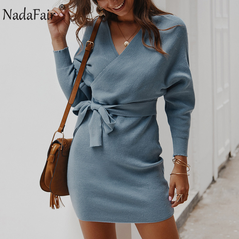 Nadafair Long Sleeve Elegant Tunic Sweater Dress Women Casual Sexy Backless V Neck Bodycon Warm Knitted Dress Winter