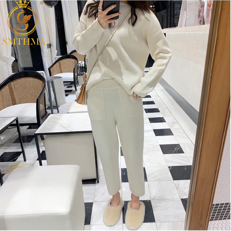 SMTHMA High Quality New Winter Women Cashmere Sweater Two Piece Knitted Sets Tracksuit 2019 Fashion Sweatshirts Sporting Suit