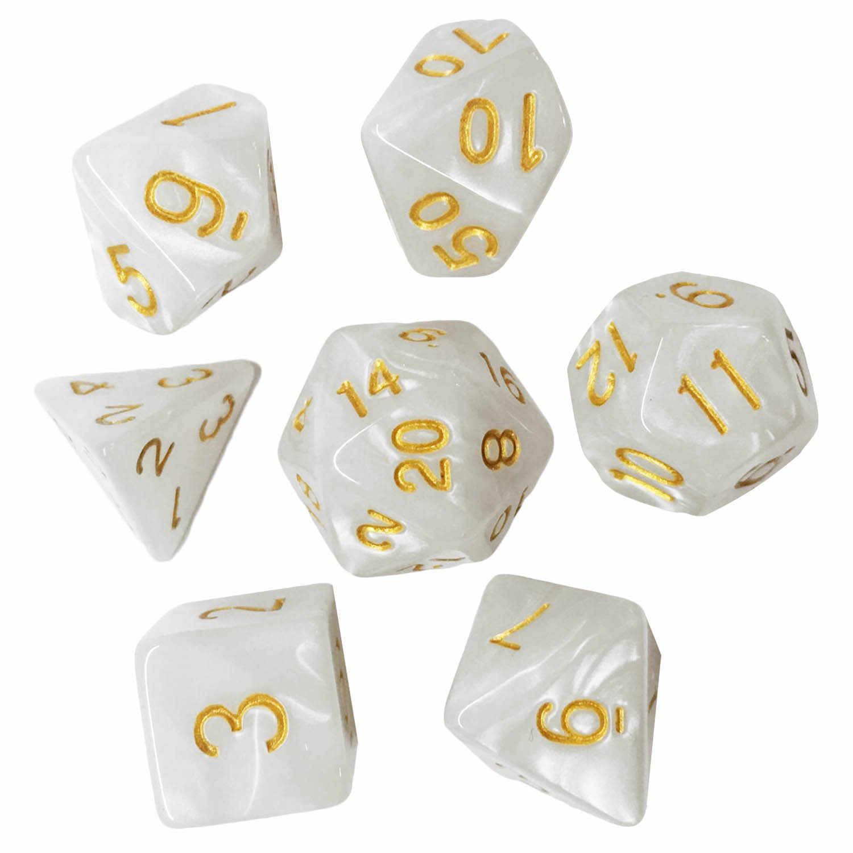 7PCS Dados Poliédricos Acrílico Número Brinquedos Jogo Dice Set Estilo 7 D4 D6 D8 2D10 D12 D20 para Dungeons e Dragões Festa Jogos de Tabuleiro