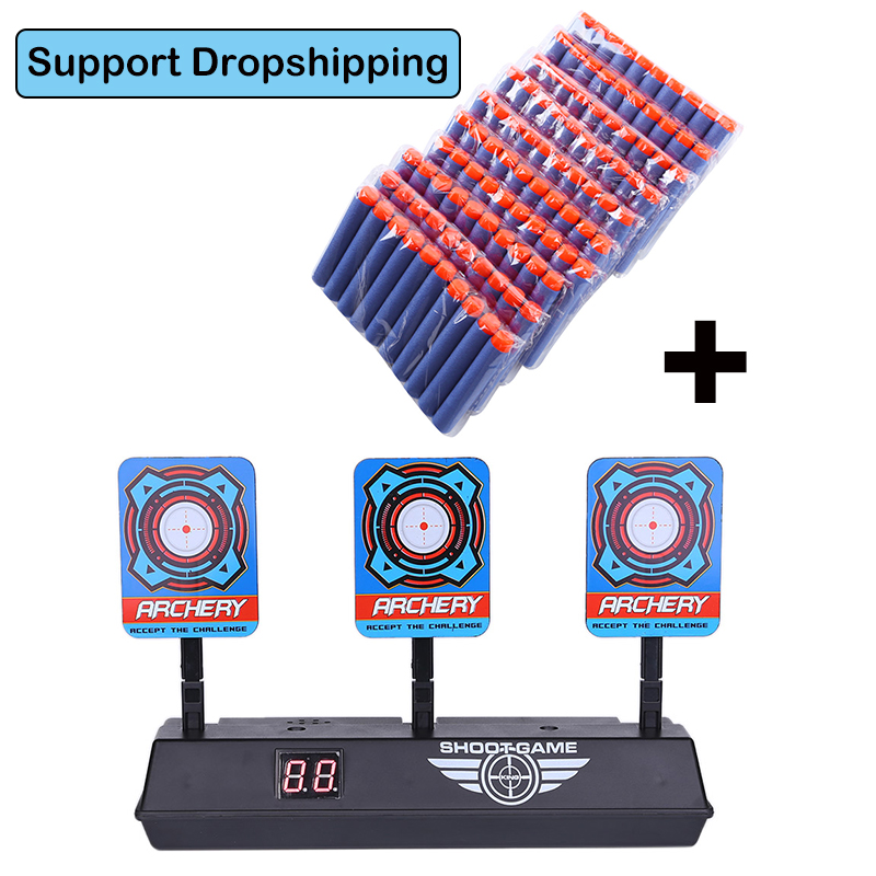 100pcs Blue Bullets With Scoring Auto Reset Electric Target For Nerf Toy Hollow Hole Foam Soft Bullet Kids Toy Gun Accessories