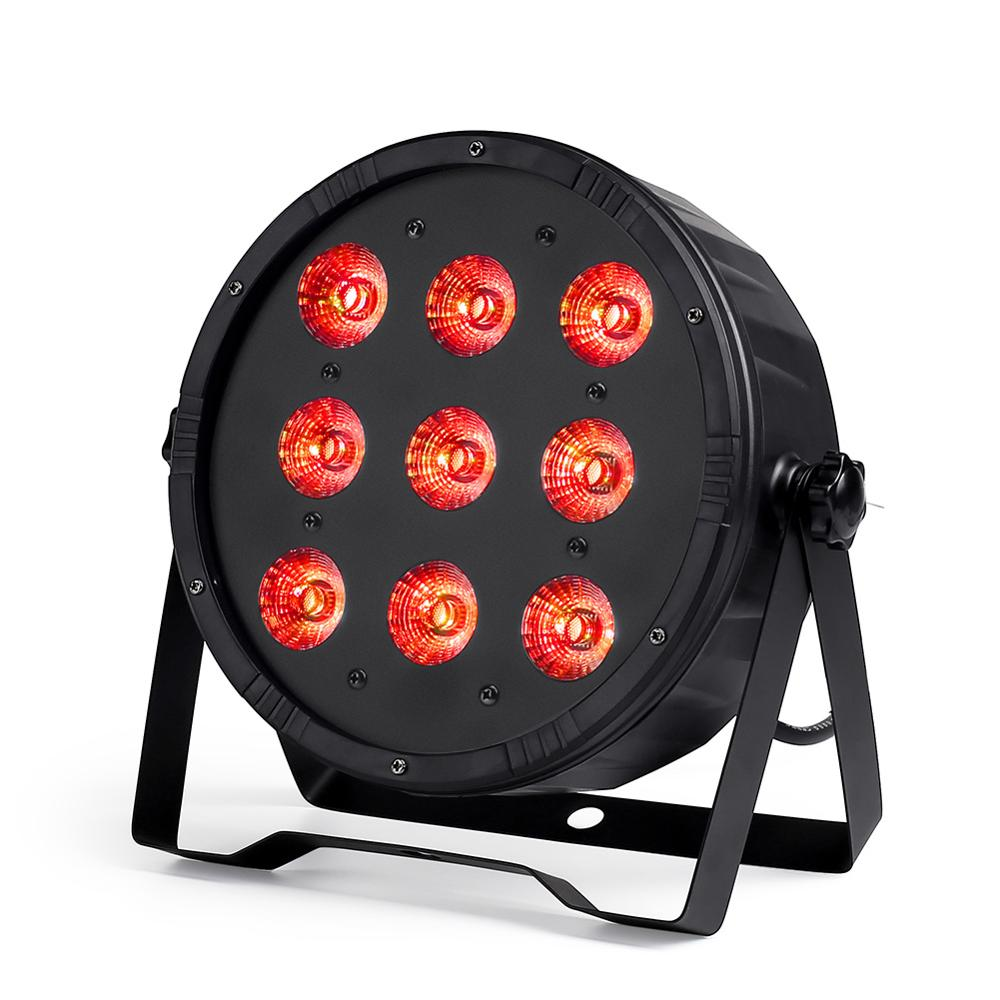 2pcs/lot LED Par 9x12W 4in1 RGBW Flat Par Light DMX512  Of Disco DJ Music Party Club Dance Floor BAR Darkening Effect