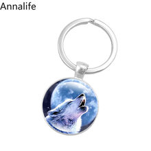 2019 New Wolf-Keychain Wolf Head Key Chains Howling Wolf Keyring Wolf Jewelry Gifts for Him for Boyfriend(China)