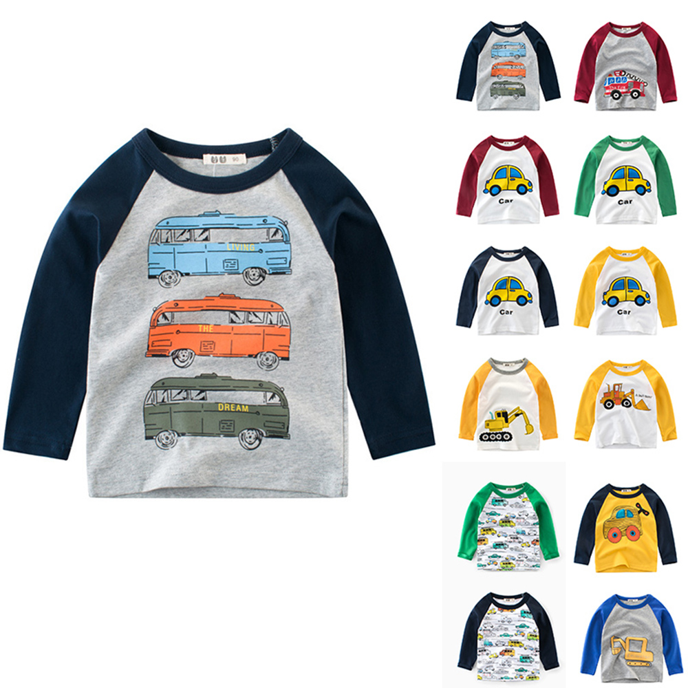 CYSINCOS Spring and Autumn Long Sleeve Boys Cartoon Car Print T-shirt  Kids Clothes Baby Casual Tops Tees Children T Shirt