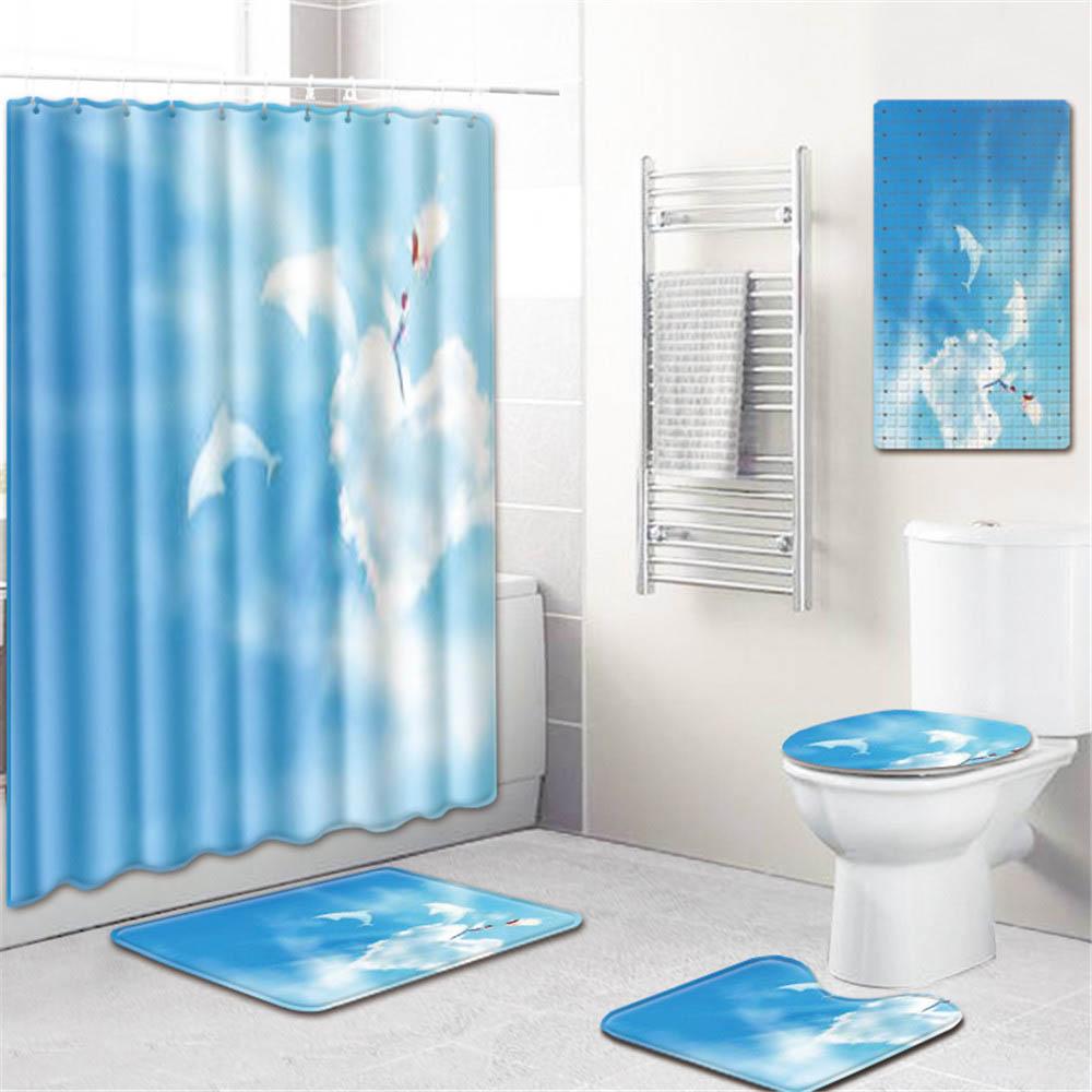 5 шт./компл. 3d Шторки для душа с принтом водонепроницаемая ткань для ванной ПВХ нескользящий коврик для ванной коврик коврики для туалета чех... - 4