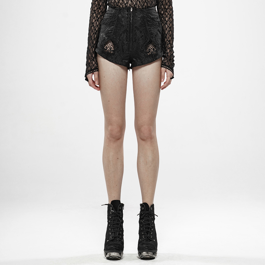 PUNK RAVE Women Gothic Thorns And Desire Jacquard Shorts Jacquard Metal Zippers Hollow-out Pants Legs Shorts