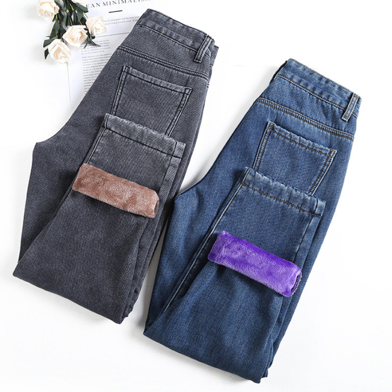 Winter Jeans For Women Ankle-length Fleeces Warm Jeans Pants Female Loose Denim Harem Pants Blue Jean Gray Trousers P9251