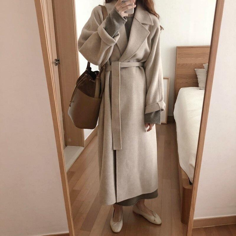 19 Winter Oversize Long Trench Coat Women Cashmere Coat Korean Lady Windbreaker Outwear Streetwear 55