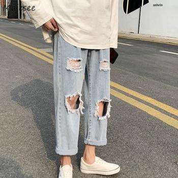 Men Jeans Holes Fur-lined Casual Ankle-length Summer Chic Harajuku Mens Denim Wide Leg Trousers Streetwear Big Size 3XL Ulzzang фото