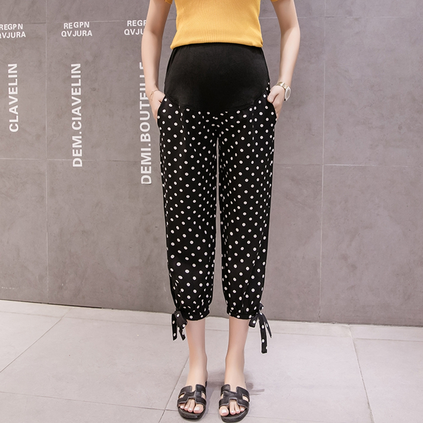 Pregnant Women's Casual Pants Spring and Summer Nine-point Pants Season Thin Casual Loose Fashion Polka Dot Tide Mom Pants