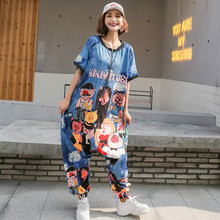 Harajuku Pants Street Loose Short-sleeved Cartoon Print Thin Jumpsuits Women Fashion Hot Drilling Chic Loose Jumpsuits chic women s leopard print loose exumas pants
