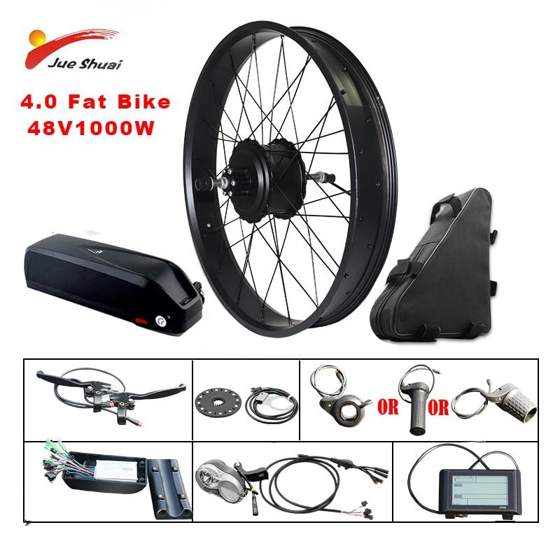 Fat Bike Electric Wheel 48V 1000W Snow Bike Kit Electric Bike Conversion kit 4.0 Wheel ebike kit 20inch 26inch Rear Hub Motor