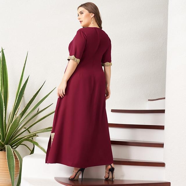 Women's Plus Size Dress Vintage Lace Patchwork Split Hem Solid Half Sleeve Maxi Party Prom Long Maxi Red Suelto Dresses 2
