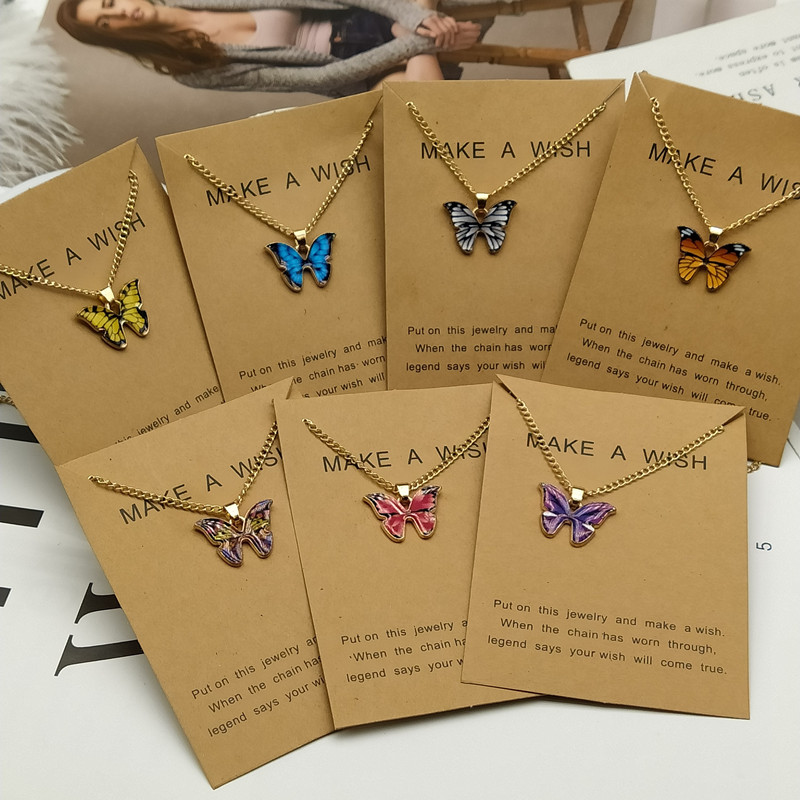 Korean Fashion Cute Butterfly Pendant Necklace for Women Golden Color Statement Necklace Jewelry Gifts Wholesale Dropshipping 1