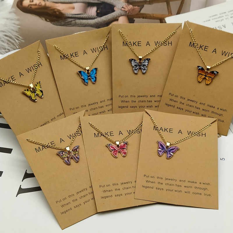 Korean Fashion Cute Butterfly Pendant Necklace for Women Golden Color Statement Necklace Jewelry Gifts Wholesale Dropshipping