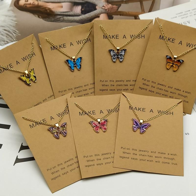 Korean Fashion Cute Butterfly Pendant Necklace for Women Golden Color Statement Necklace
