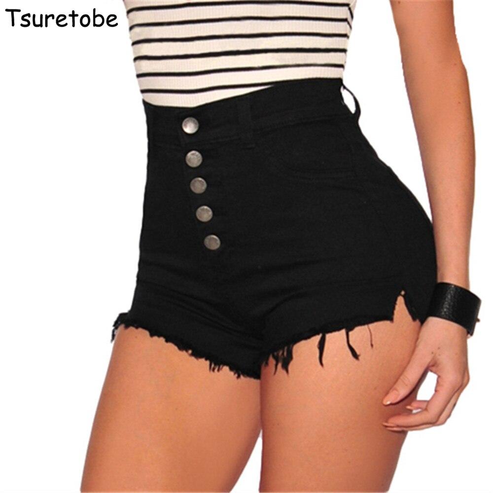 Tsuretobe Fashion High Waist Denim Shorts Buttons Women Summer Bodycon Tassel Short Jeans Mujer Stretch Casual Mini Shorts