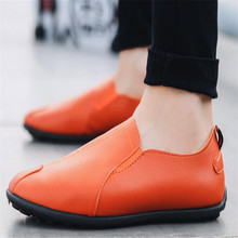 New mens leather shoes sneakers casual breathable comfortable lightweight wear non-slip design