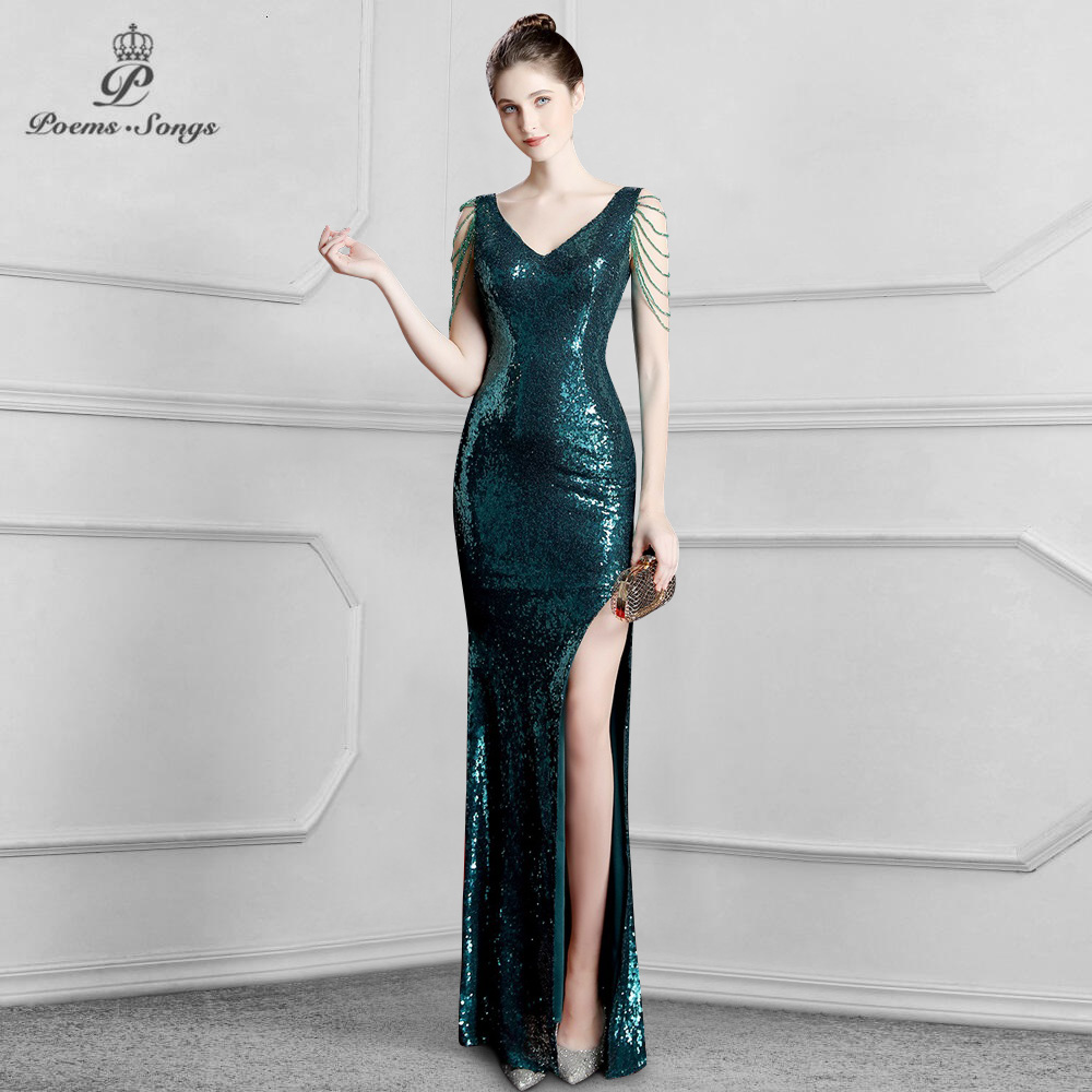Elegant Sequins Mermaid Evening Dress Prom Gowns Formal Party Dress Vestido De Festa Elegant Vintage Robe Longue Women Dress